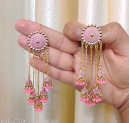 Latest Collection 5 Layer Latkan Jhumka earrings for Girls and Woman (Pink Color)