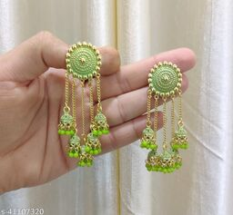 Latest Collection 5 Layer Latkan Jhumka earrings for Girls and Woman (Parrot Green Color)