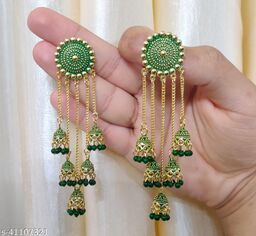 Latest Collection 5 Layer Latkan Jhumka earrings for Girls and Woman (Green Color)