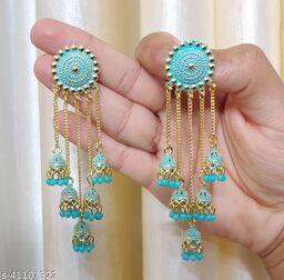 Latest Collection 5 Layer Latkan Jhumka earrings for Girls and Woman (Sea Green Color)