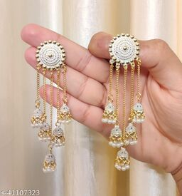 Latest Collection 5 Layer Latkan Jhumka earrings for Girls and Woman (White Color)