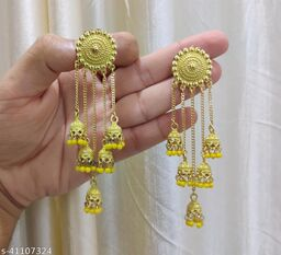 Latest Collection 5 Layer Latkan Jhumka earrings for Girls and Woman (Yellow Color)