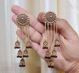 Latest Collection 5 Layer Latkan Jhumka earrings for Girls and Woman (Brown Color)