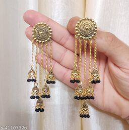 Latest Collection 5 Layer Latkan Jhumka earrings for Girls and Woman (Black Color)