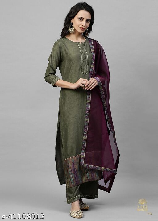 Indo Era Green Solid Straight Kurta Palazzo with Dupatta Sets