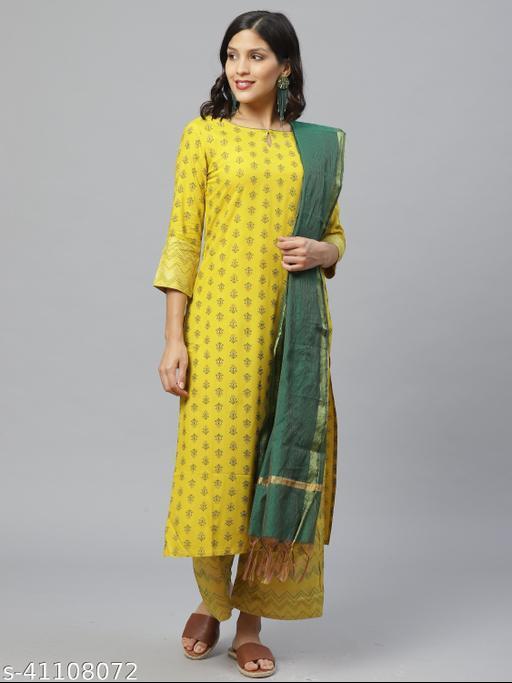 Indo Era Yellow Foil Printed Straight Kurta Set