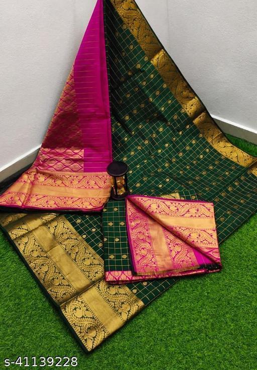Allover checks butta sadi with Kanchi border Sarees Contrast pallu and blouse