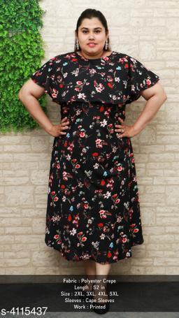 Women's Printed Black Poly Crepe Dress