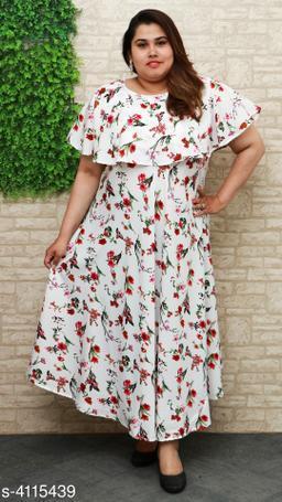Women's Printed White Poly Crepe Dress