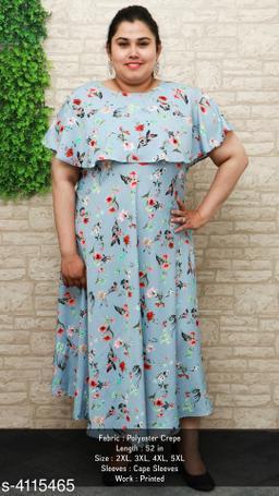 Women's Printed Blue Poly Crepe Dress