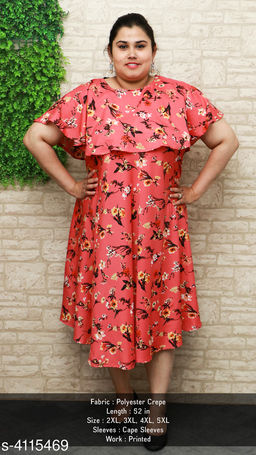 Women's Printed Red Poly Crepe Dress