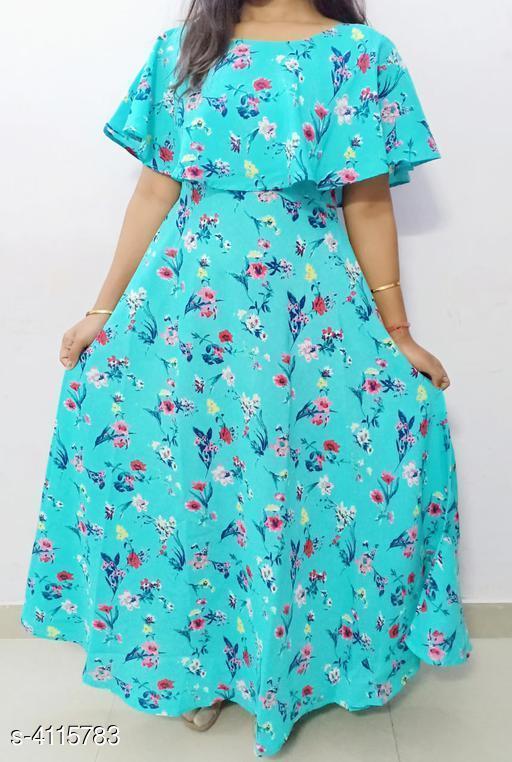 Women's Printed Blue Crepe Dress