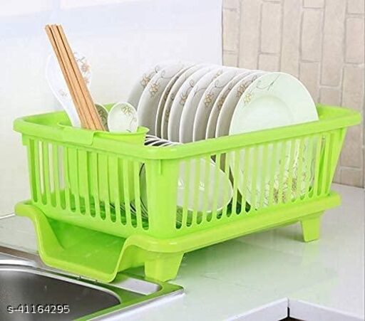 Frekich 3 in Large Kitchen Sink Dish Drainer Drying Rack Washing Basket with Removable Tray || Dish Rack Organizers || Cutlery Dish Tray || Chopsticks Spoon Tableware Holder, Green