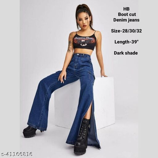 Boot Cut denim jeans by High-Buy- Dark shade