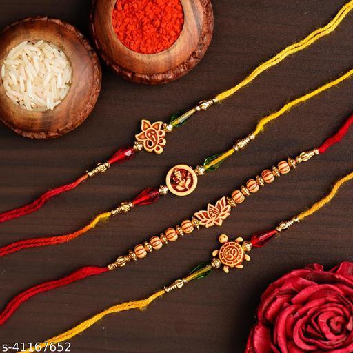 Ingo creation Rakhi for Bhaiya Bhabhi Lumba Rakhi Couple Rakhi Set of 2 for Rakshabandhan with Roli Chawal