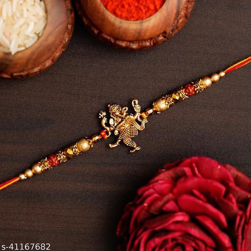 Ingo creation Floral Meena work Lord Ganesha Rakhi Bracelet for beloved brother/Bhaiya