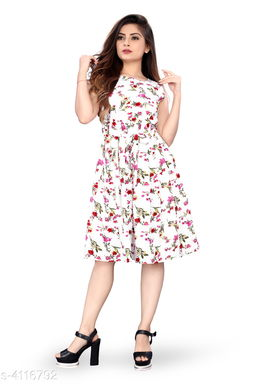 Women's Printed White Crepe Dress