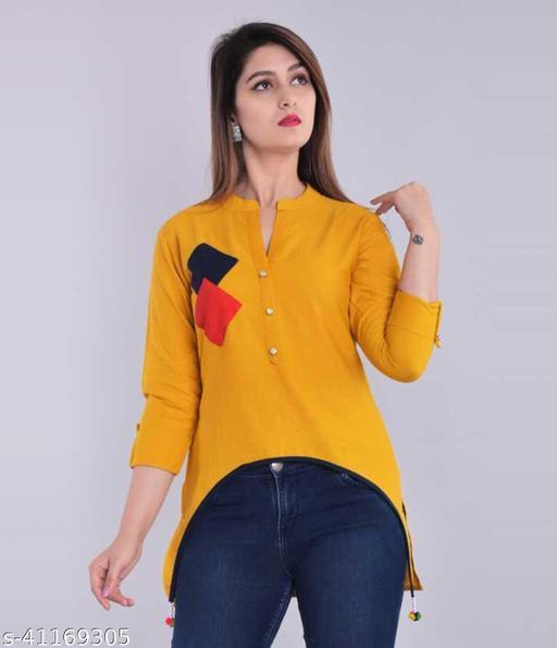 Casual Cutout Solid Women Yellow Top
