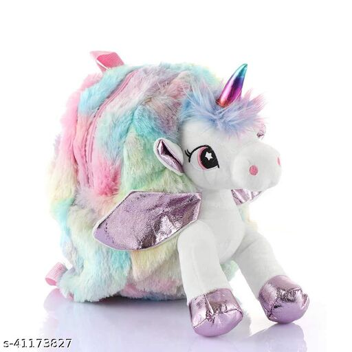 Mistazzo® Unicorn Stylish Cute Soft Fur Plush Backpack Bag for Girls Kids for School, Picnic Trips, Return Gift Material: Fur, Color: Multicolor