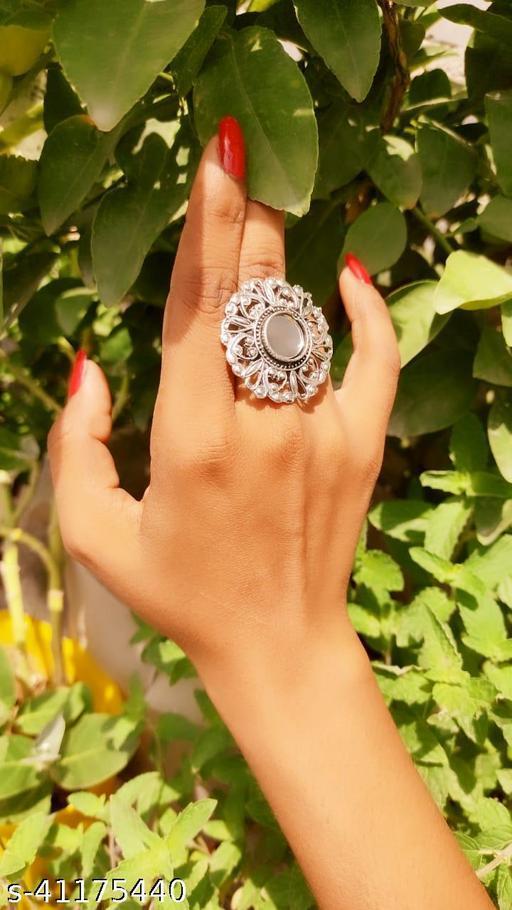 Oxidized Silver Color Mirror Stud Adjustable Ring