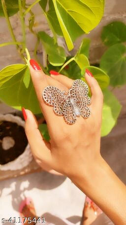Oxidized Silver Color Butterfly Adjustable Ring