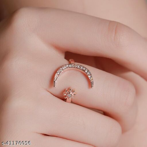 Arzonai Cross-border hot sale crescent ring European and American fashion star and moon ring ethnic style star and moon index finger open ring