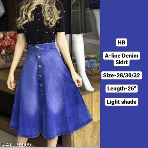 A-LINE Flarred denim skirt with wash by High-Buy-dark shade