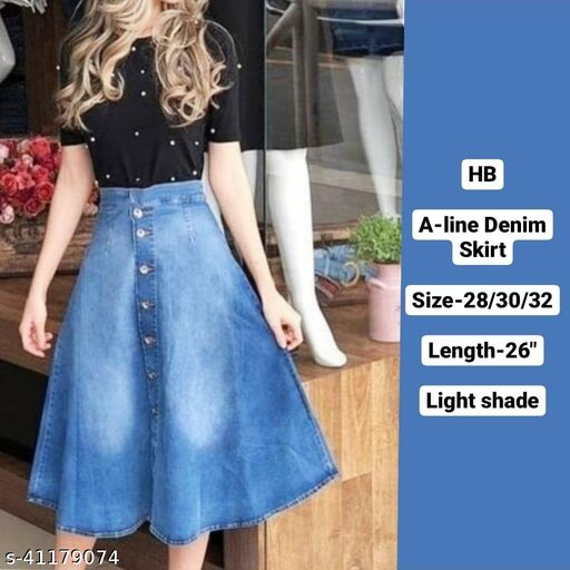 A-LINE Flarred denim skirt with wash by High-Buy-light shade