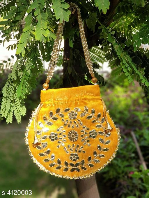 Pouches & Potlis Alluring Silk Potli Bag  *Fabric * Silk  *Dimension (L X W) * 22 cm X 22 cm  *Compartment* 1  *Description * It Has 1 Piece Of Women's Potli Bag  *Work* Embroidery  *Sizes Available* Free Size *    Catalog Name:  Alluring Silk Potli Bags  CatalogID_585582 C73-SC1077 Code: 272-4120003-