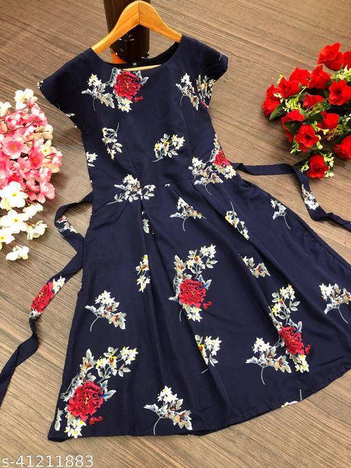 Women Trendy Onepiece Midi Dres With Flower Desgine And Belt.