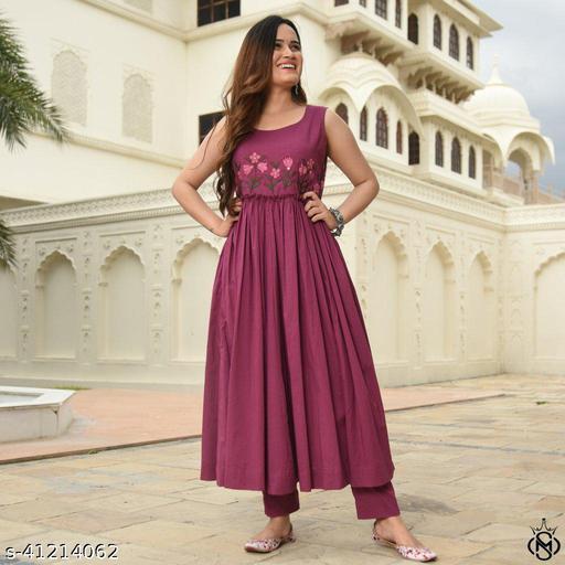 Desirable nack patterned women's cotton frock style kurta and pant set