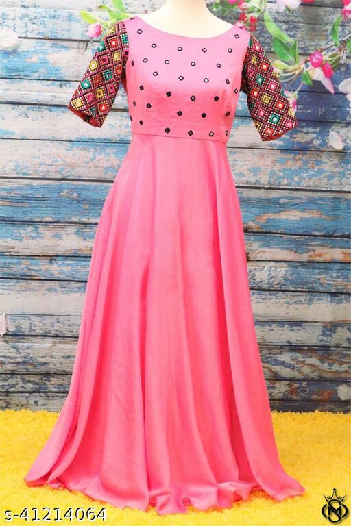 glamorous peach coloured Mirror work Embroided maxi floor touch gown
