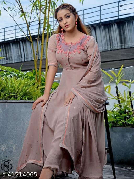 Stylish grey colored Awesome Sequence and Embroided maxi floor touch women gowns