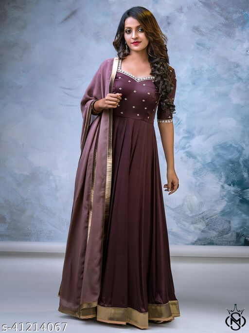 Arresting Maroon colored Beautifull Embrodiery Siquence Floor Touch Gown