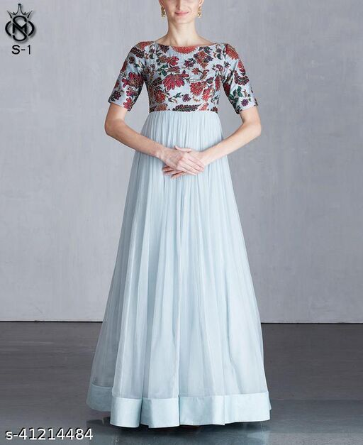 Demanding Ice blue coloured party wear women koela chiffon dress
