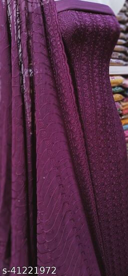 Georgette Work with Inner Dress Material with Dupatta Work - Purple