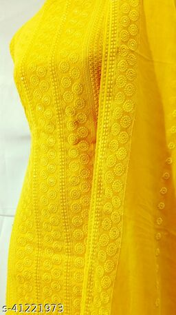 Georgette Work with Inner Dress Material with Dupatta Work - Yellow
