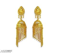Traditional Gold Stylish Fancy Party Wear Jhumki/Jhumka earrings for Girls and Woman (Design-4)