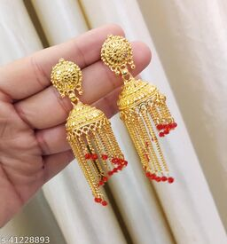 Traditional Gold Stylish Fancy Party Wear Jhumki/Jhumka earrings for Girls and Woman (Design-3)