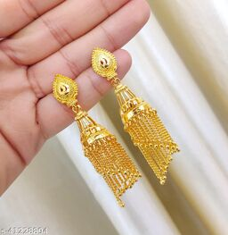 Traditional Gold Stylish Fancy Party Wear Jhumki/Jhumka earrings for Girls and Woman (Design-6)