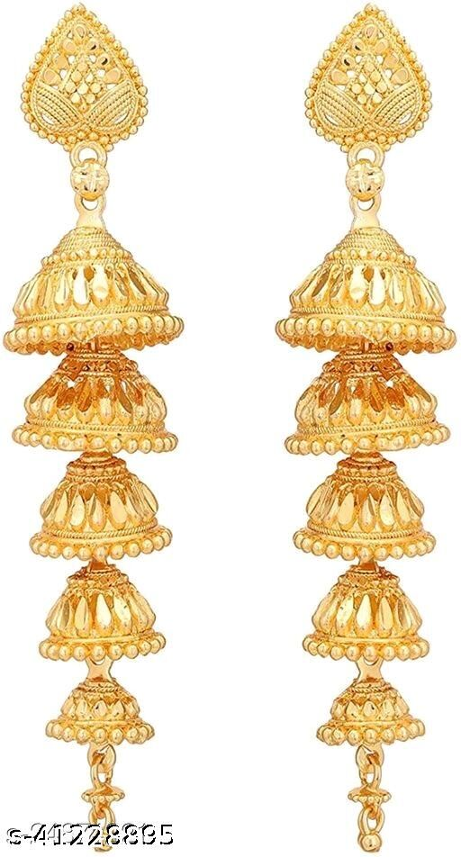 Traditional Gold Stylish Fancy Party Wear Jhumki/Jhumka earrings for Girls and Woman (Design-1)