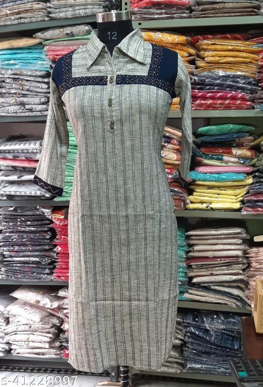 Attractive Solid Khadi-Cotton Spread-Collar Kurta.