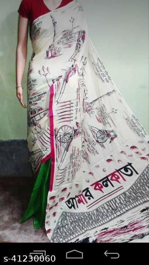 Screen print saree