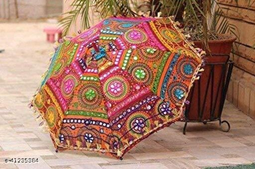 LAXMI MARBLE & GRANITE | Fabric Embroidered Rajasthani Umbrella (Multi Color and Assorted), Photo Shoot, Celebration, Party,