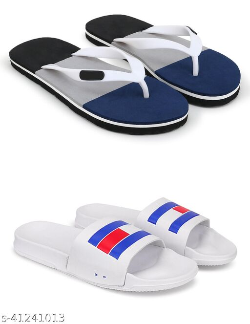 Tending Fabulous Light Weight Colorblock Fabrication Grey, White Slippers Combo of 2 for Men