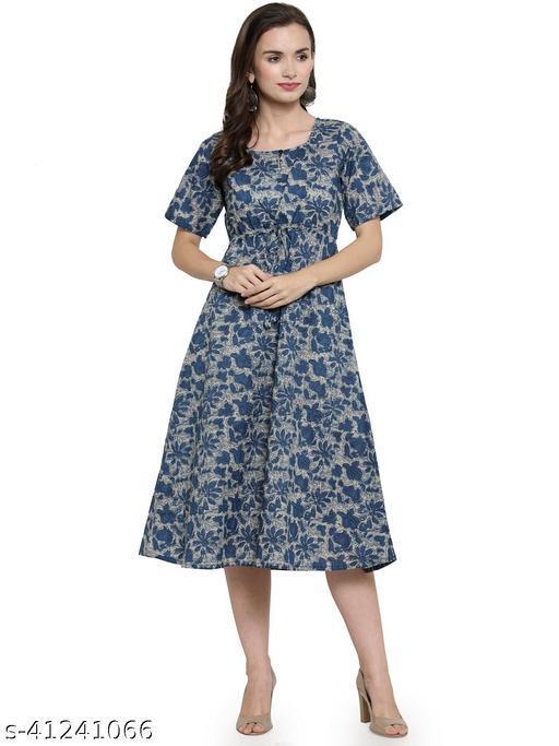 Enchanted Drapes Indigo Printed A-Line Cotton Dress