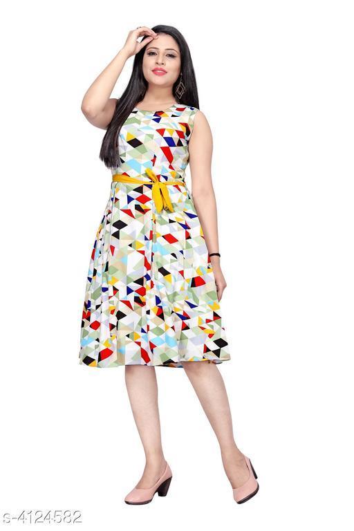 Women's Printed Light Multicolour Crepe Dress