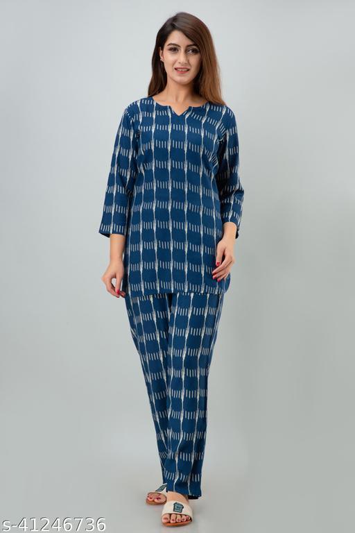 Miskurti Blue Printed Night Suit