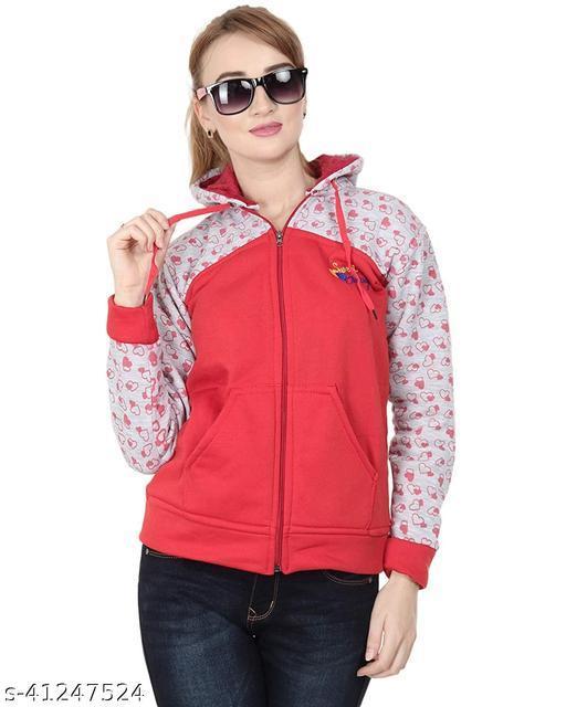 Smart Sweatshirt Zipper Hoodie for winters-Red