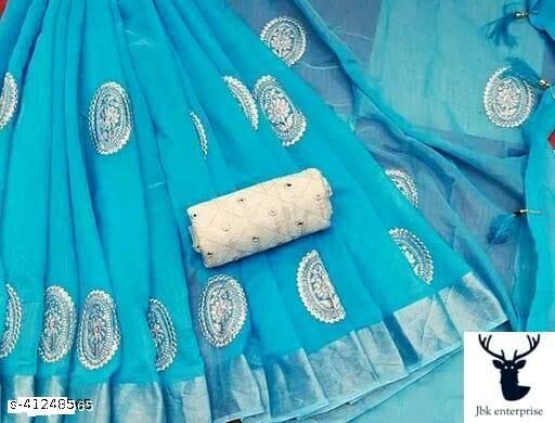 New womens chanderi saree with blouse
